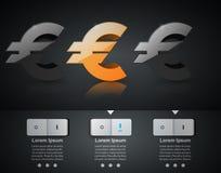 3D Infographic Euro, ícone do dinheiro Fotos de Stock