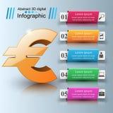 3D Infographic Euro, ícone do dinheiro Fotografia de Stock Royalty Free