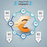 3D Infographic Euro, Geldikone Lizenzfreies Stockfoto
