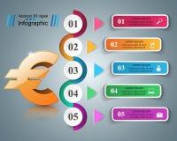 3D Infographic Euro, Geldikone Stockfoto