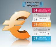 3D Infographic Euro, Geldikone Lizenzfreies Stockbild