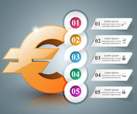 3D Infographic Euro, Geldikone Lizenzfreie Stockbilder