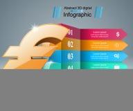 3D Infographic Euro, Geldikone Stockbilder