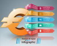 3D Infographic Euro, Geldikone Stockfotos