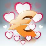 3D Infographic Euro hjärta, pengarsymbol Arkivfoto