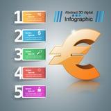 3D Infographic Euro pengarsymbol Arkivbild