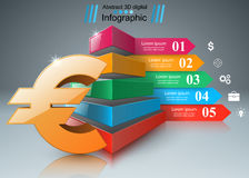 3D Infographic Euro pengarsymbol royaltyfri illustrationer