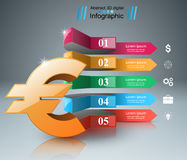 3D Infographic Euro pengarsymbol Royaltyfri Bild