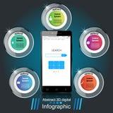 3D Infographic Het pictogram van Smartphone Royalty-vrije Stock Afbeelding
