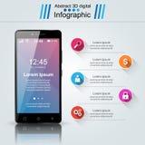 3D Infographic Het pictogram van Smartphone Stock Illustratie