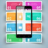 3D Infographic Het pictogram van Smartphone Stock Foto