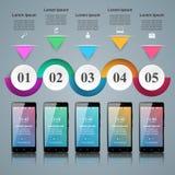 3D Infographic Het pictogram van Smartphone Vector Illustratie