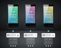 3D Infographic Het pictogram van Smartphone Stock Afbeeldingen