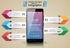 3D Infographic Het pictogram van Smartphone Royalty-vrije Stock Afbeeldingen