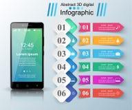 3D Infographic Icona di Smartphone Immagini Stock Libere da Diritti