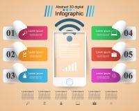 3D Infographic Icona di Smartphone Fotografie Stock Libere da Diritti