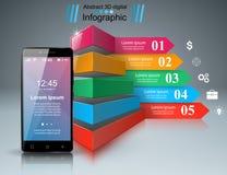 3D Infographic Icono de Smartphone Imagen de archivo