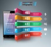 3D Infographic Icono de Smartphone Fotografía de archivo