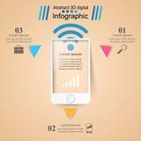 3D infographic ontwerp malplaatje en marketing pictogrammen Smartphone Royalty-vrije Stock Fotografie