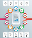 3D infographic ontwerp malplaatje en marketing pictogrammen Smartphone Stock Afbeeldingen