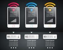 3D infographic ontwerp malplaatje en marketing pictogrammen Smartphone i Stock Afbeelding