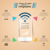 3D infographic ontwerp malplaatje en marketing pictogrammen Smartphone i Stock Afbeelding