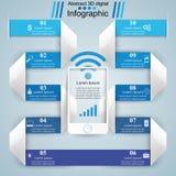 3D infographic ontwerp malplaatje en marketing pictogrammen Smartphone i Royalty-vrije Illustratie