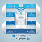 3D infographic ontwerp malplaatje en marketing pictogrammen Smartphone i Stock Fotografie