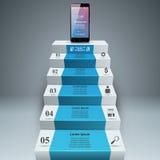3D Infographic Smartphone, лестница, значок шага Стоковая Фотография RF