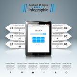 3D Infographic Smartphone, icône de comprimé Photographie stock