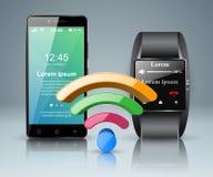 3D Infographic Smartphone, icona dello smartwatch Fotografia Stock