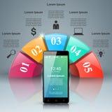3D Infographic Smartphone ikona Zdjęcie Stock