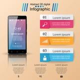3D Infographic Smartphone ikona Obrazy Stock