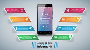 3D Infographic Smartphone ikona Obraz Royalty Free