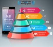 3D Infographic Smartphone ikona Royalty Ilustracja