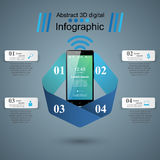 3D Infographic Smartphone ikona Obrazy Stock
