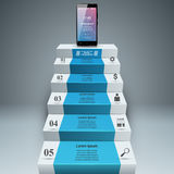 3D Infographic Smartphone, ladder, stappictogram Royalty-vrije Stock Fotografie