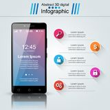 3D Infographic Smartphone symbol stock illustrationer