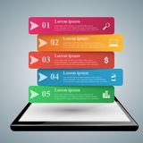 3D infographic. Tablet icon. 3D infographic design template and marketing icons. Business Infographics origami style Vector illustration. Tablet icon Stock Photography