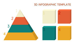 3D infographic template in solid colors. Pyramid and boxes Royalty Free Stock Images
