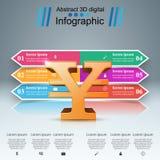 3D Infographic Yen pengarsymbol vektor illustrationer