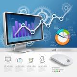 3d infographics网络设计模板。 免版税库存图片