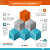 3d infographics pyramid of cubes chart. 3d infographics pyramid of cubes chart for your Business reports and financial data presentation Royalty Free Stock Images
