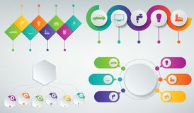 3D Infographics templates set. Business presentation concept. Vector. Illustration Royalty Free Stock Images