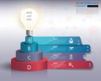 3d infographics van de gloeilampenchronologie met geplaatste pictogrammen Vector illu Stock Fotografie