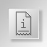 3D Information Invoice Button Icon Concept Royalty Free Stock Photography