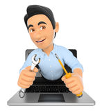 3D Information technology technician coming out a laptop screen Royalty Free Stock Images