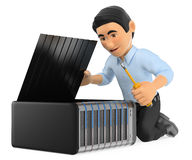 3D Information technology technician repairing a server. 3d working people illustration. Information technology technician repairing a server. White background Stock Image