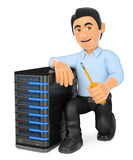 3D Information technology technician with a server Royalty Free Stock Image