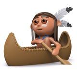 3d Inheemse Indiaanjongen paddelt zijn kano Stock Afbeelding